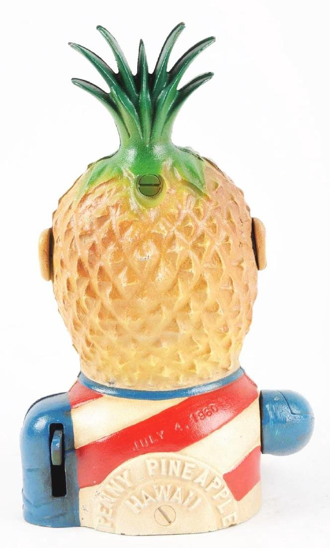 Cast Iron Penny Pineapple Mechanical Bank. - 2