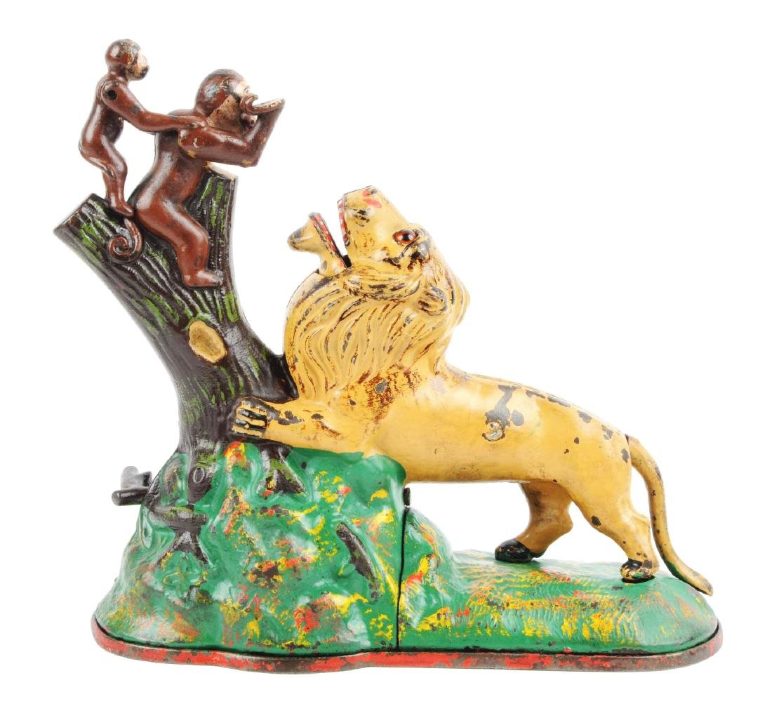Kyser & Rex Lion and Monkeys Cast Iron Mechanical Bank.
