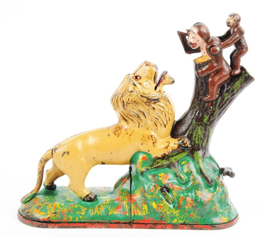 Kyser & Rex Lion and Monkeys Cast Iron Mechanical Bank. - 2
