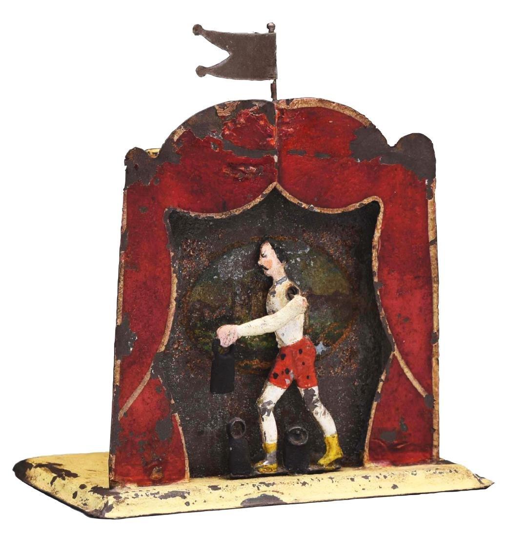 Tin Weightlifter Mechanical Bank.