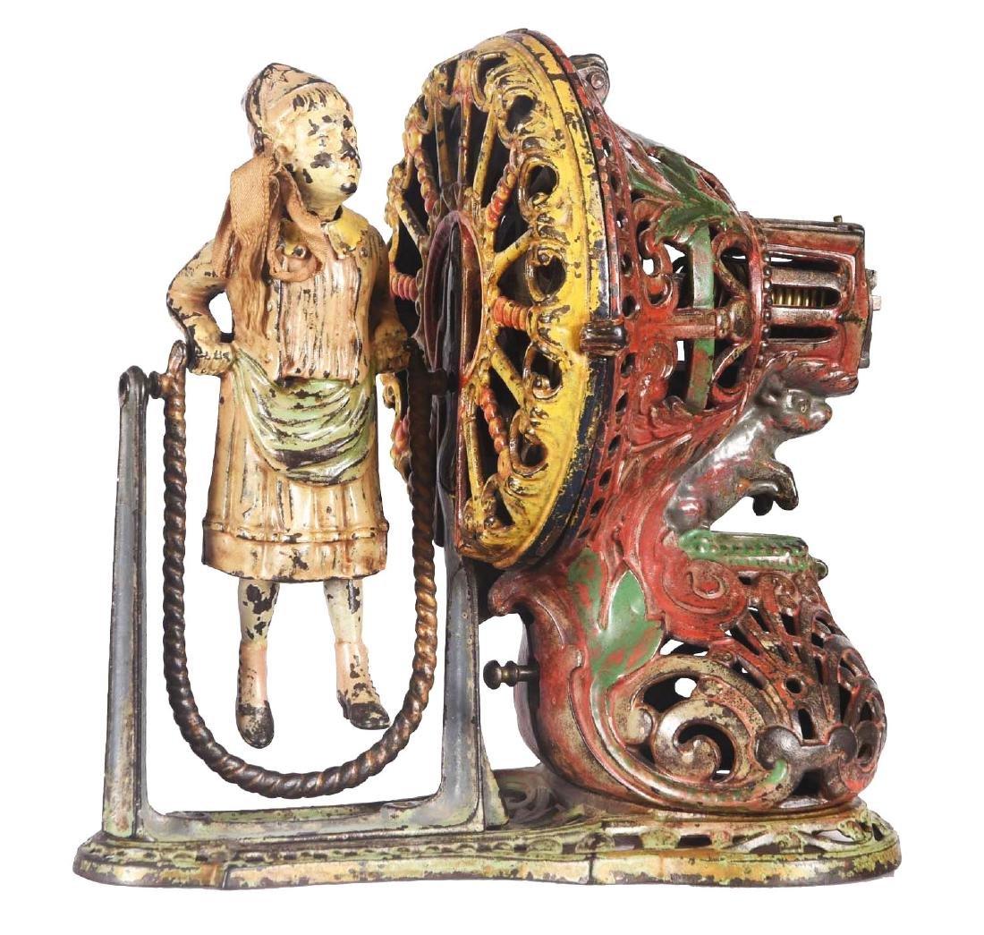 J.&E. Stevens Girl Skipping Rope Cast Iron Mechanical