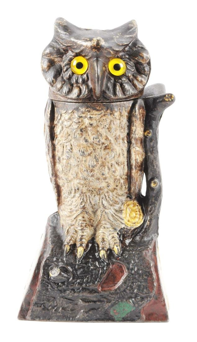 J. & E. Stevens Owl Turns Head Cast Iron Mechanical