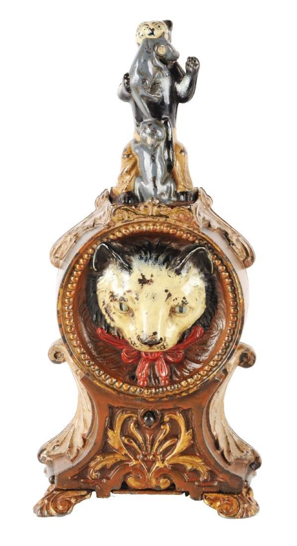J. & E. Stevens Cat & Mouse Cast Iron Mechanical Bank.