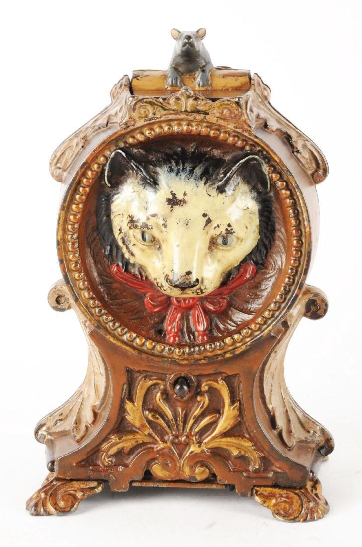 J. & E. Stevens Cat & Mouse Cast Iron Mechanical Bank. - 3