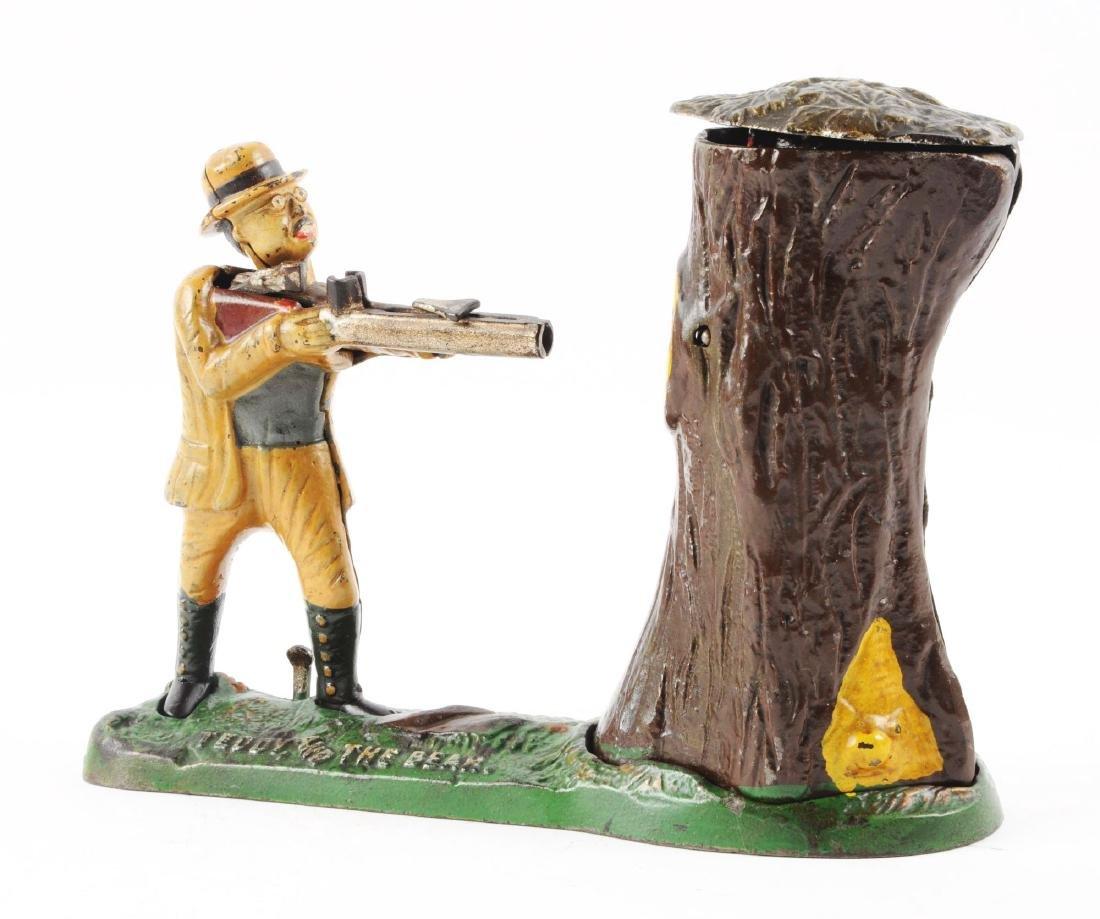 J. & E. Stevens Teddy & Bear Cast Iron Mechanical Bank. - 2
