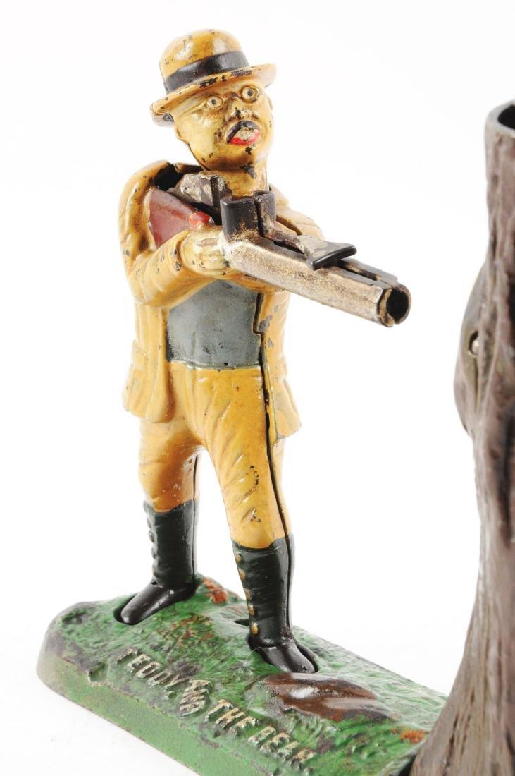 J. & E. Stevens Teddy & Bear Cast Iron Mechanical Bank. - 4