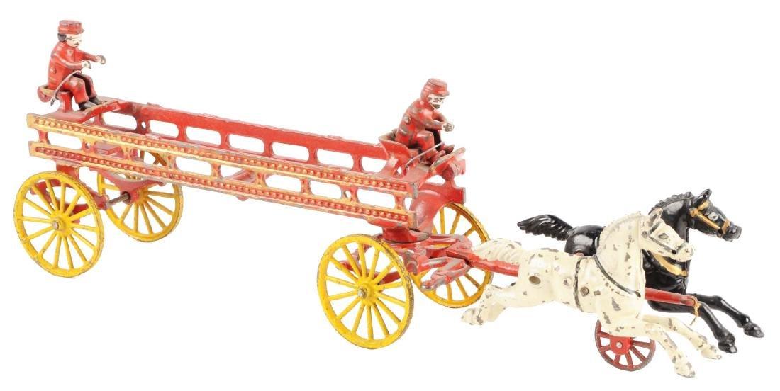 Hubley Cast Iron Horse Drawn Ladder Wagon.