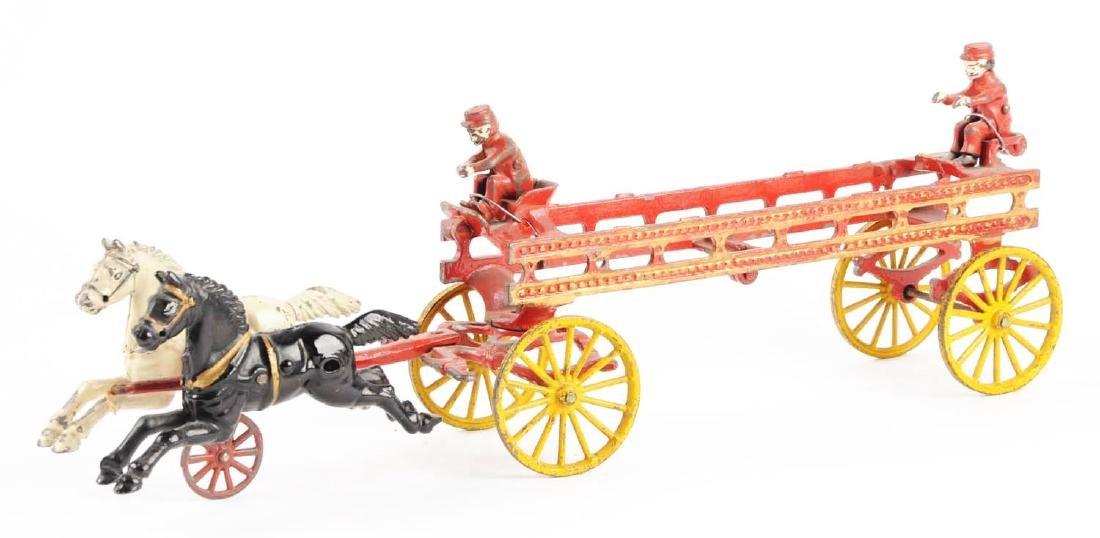 Hubley Cast Iron Horse Drawn Ladder Wagon. - 2