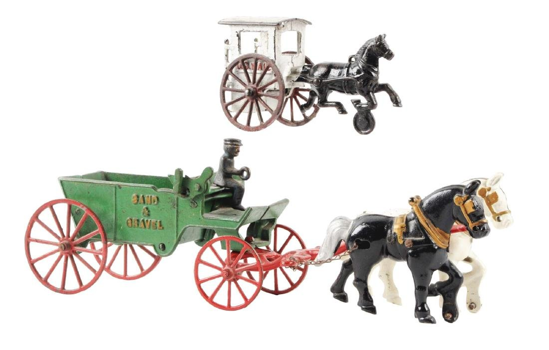 Lot of 2: Cast Iron Horse-Drawn Wagons.
