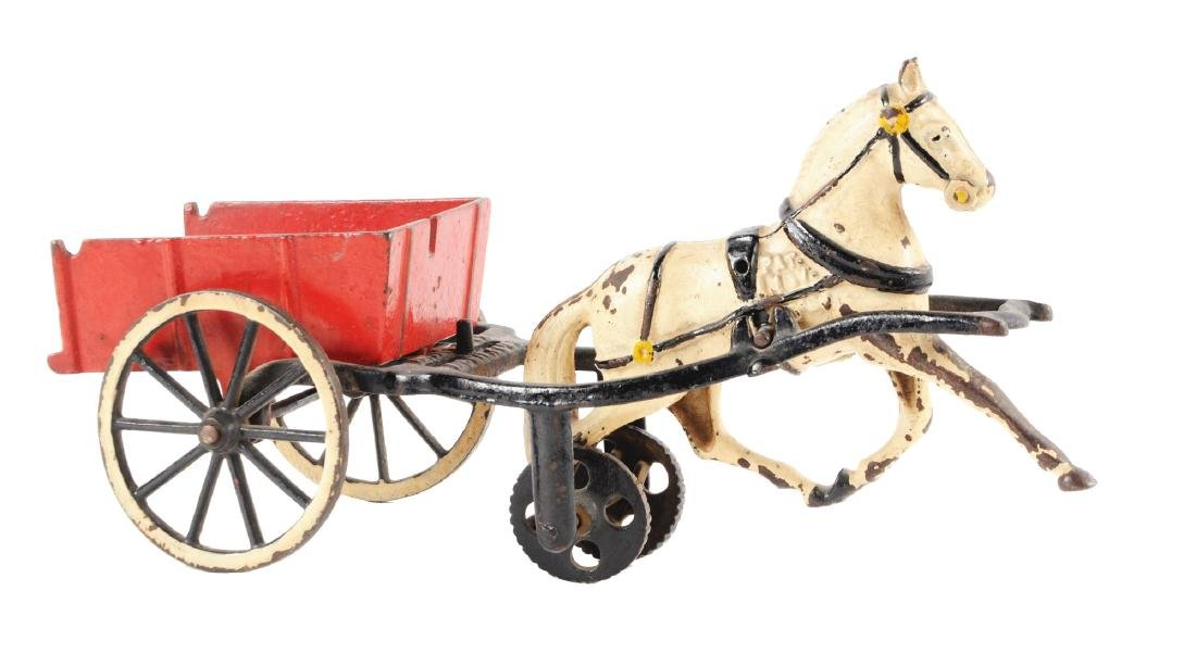 Large Carpenter Cast Iron Horse Drawn Dump Cart.