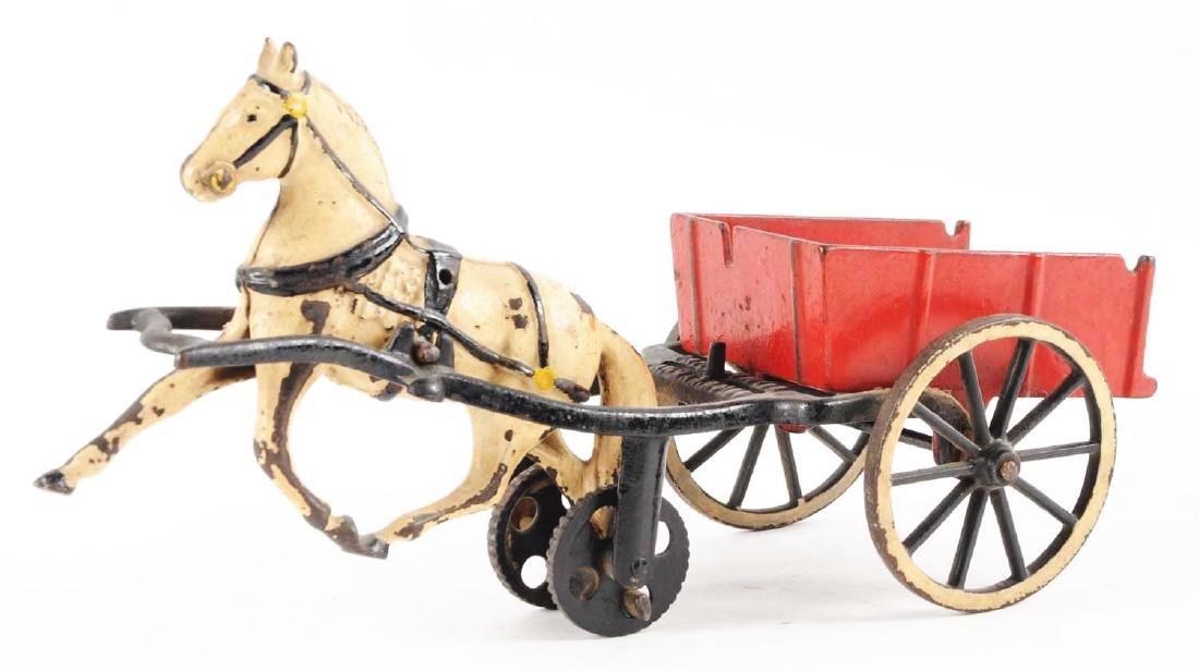 Large Carpenter Cast Iron Horse Drawn Dump Cart. - 2