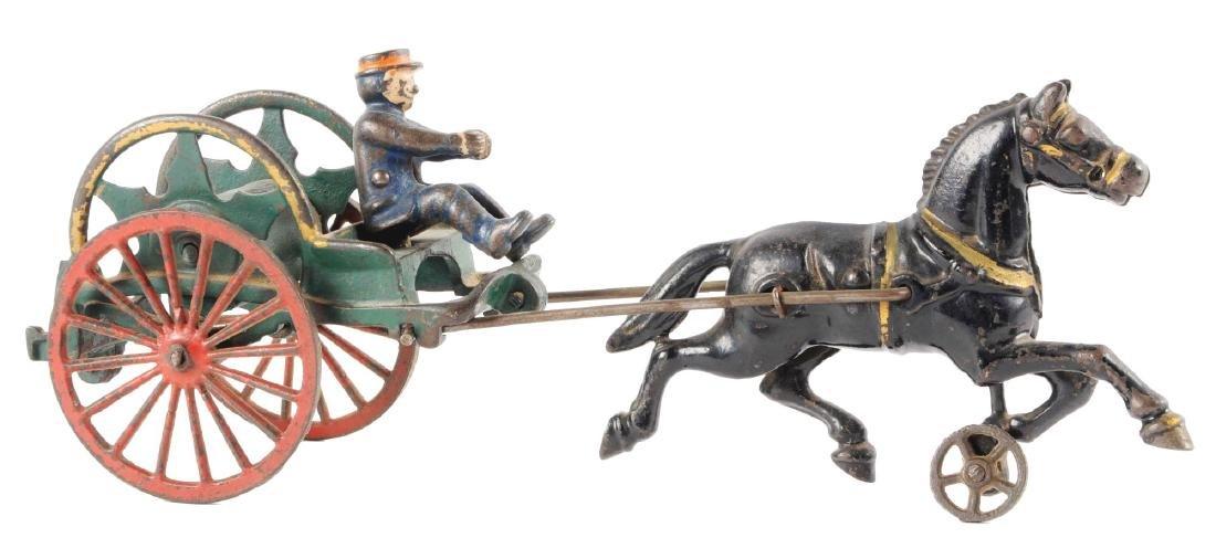Hubley Cast Iron Horse Drawn Hose Reel.