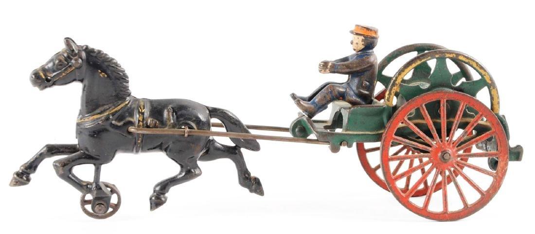 Hubley Cast Iron Horse Drawn Hose Reel. - 2
