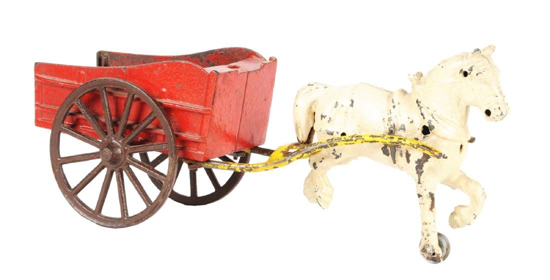 Cast Iron Horse Drawn Wagon.