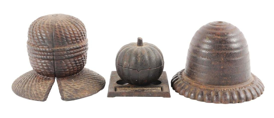 Lot of 3: Cast Iron String Holders.