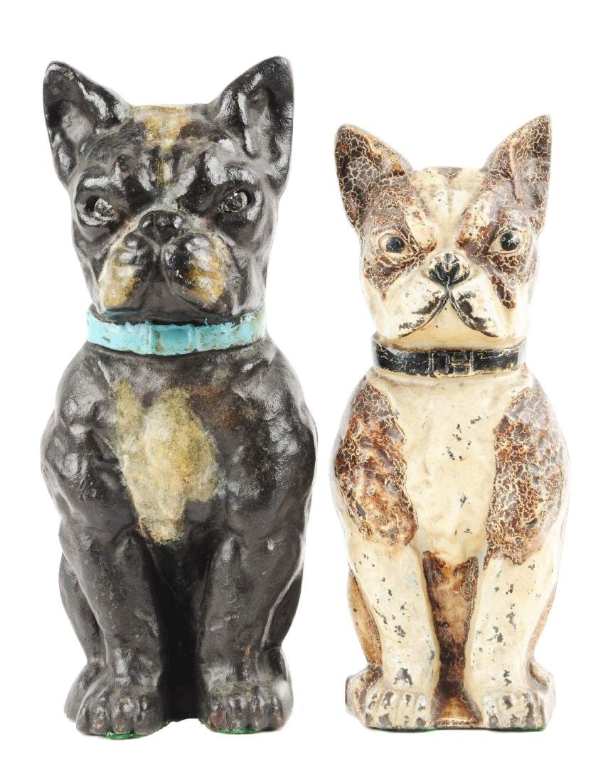 Lot of 2: Cast Iron Assorted Boston Terrier Dog