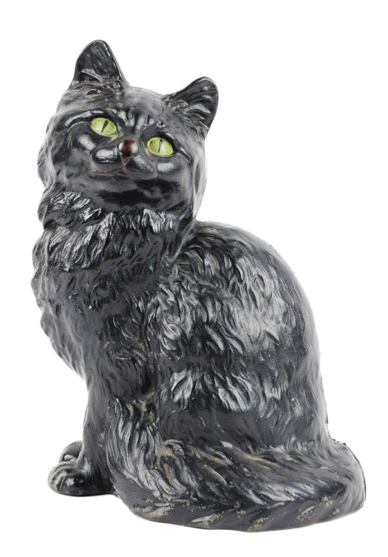 Cast Iron Sitting Persian Cat Doorstop.