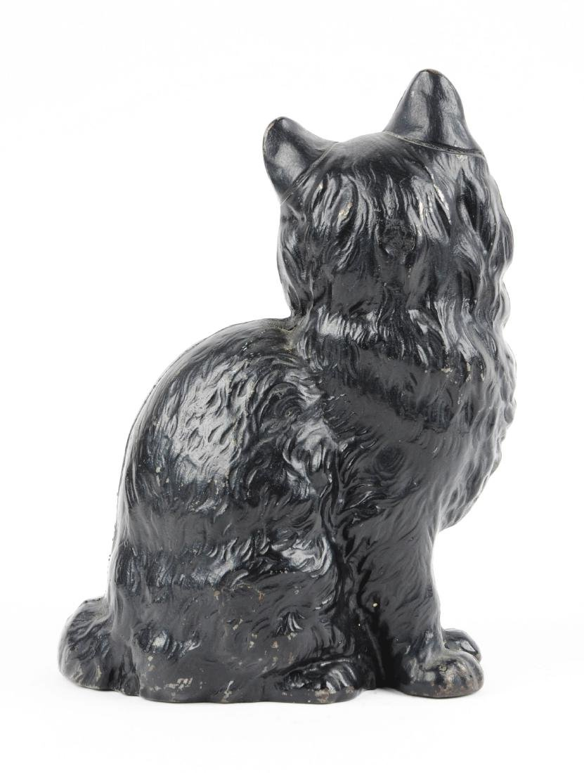 Cast Iron Sitting Persian Cat Doorstop. - 2