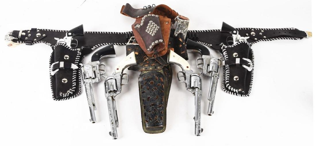 Lot of 6: Cowboy Pistols with Holsters.