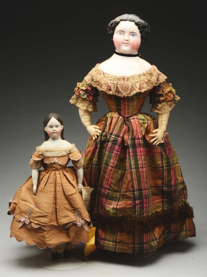 Lot of 2: Mid-19th Century China Head Dolls.