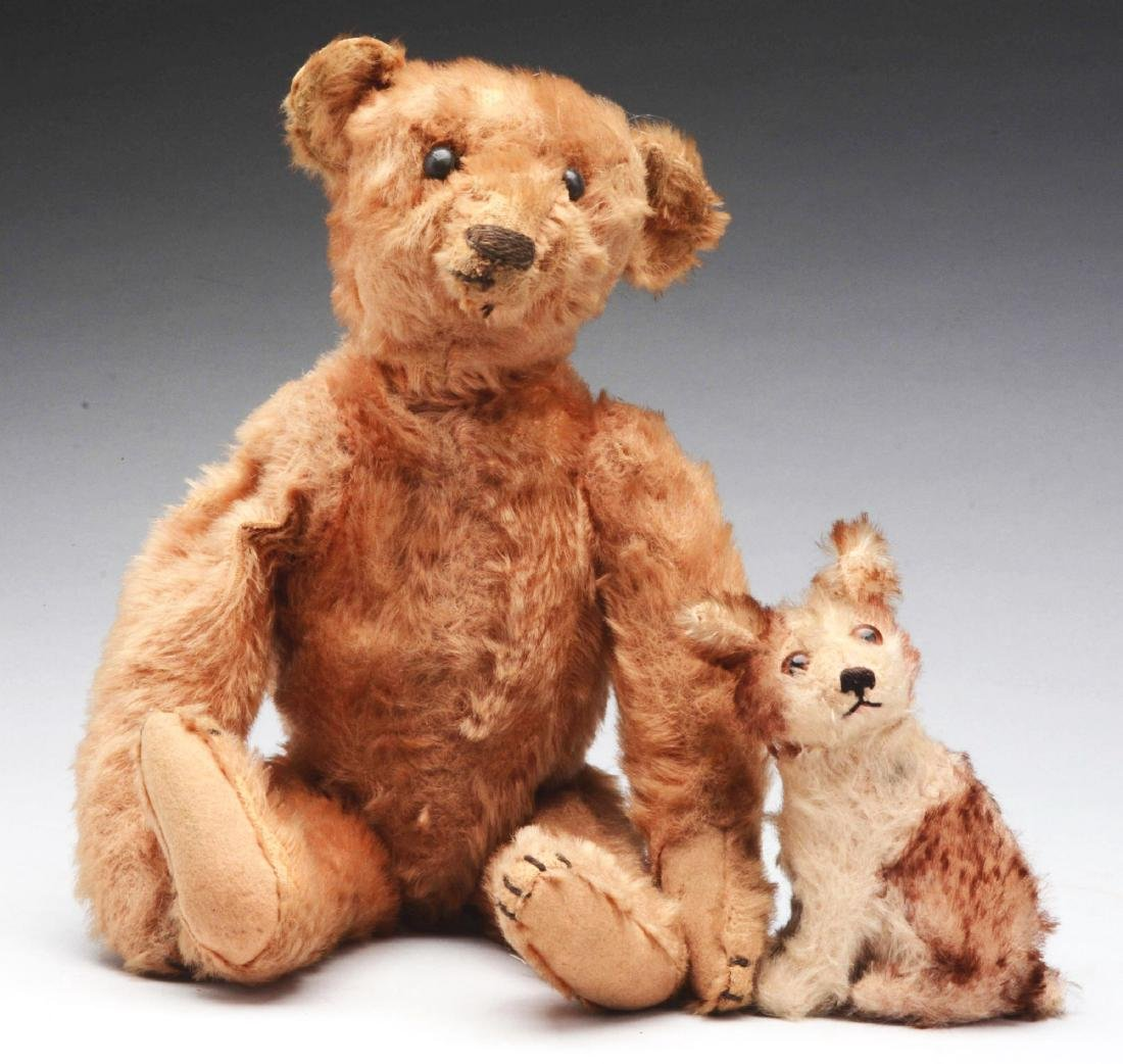 Lot of 2: Teddy Bear & Seated Dog.