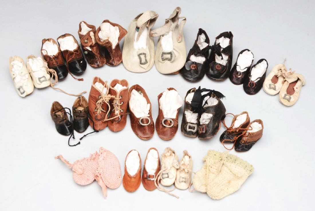 Lot of Antique Doll Shoes.