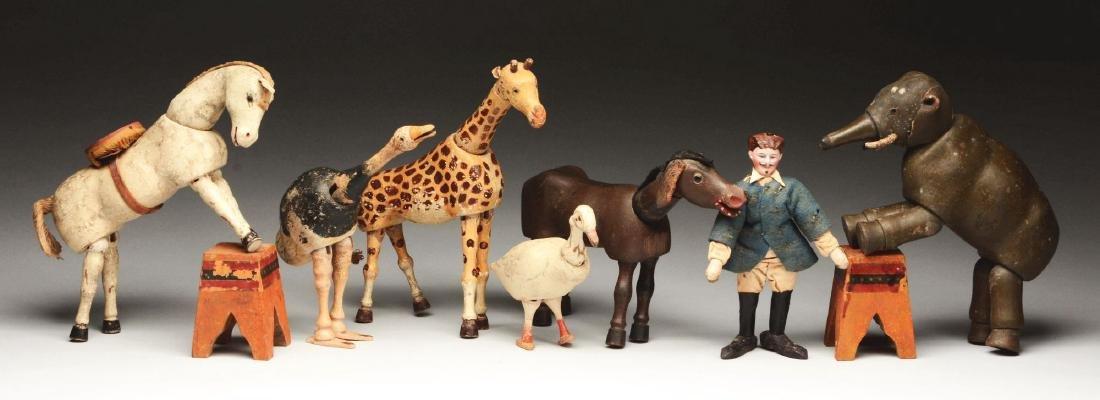 Lot of 7: Schoenhut Animals, Lion Tamer and