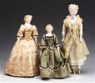 Lot of 3 German Parian Shoulder Head Dolls