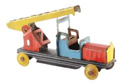 German Tin Litho Fire Ladder Truck Penny Toy