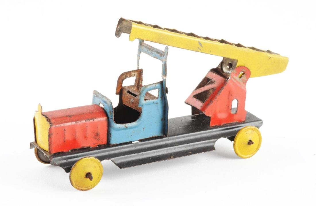 German Tin Litho Fire Ladder Truck Penny Toy. - 2