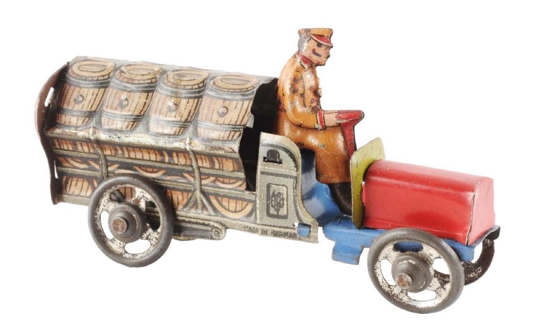German Distler Tin Litho Penny Toy Bear Barrel Truck.