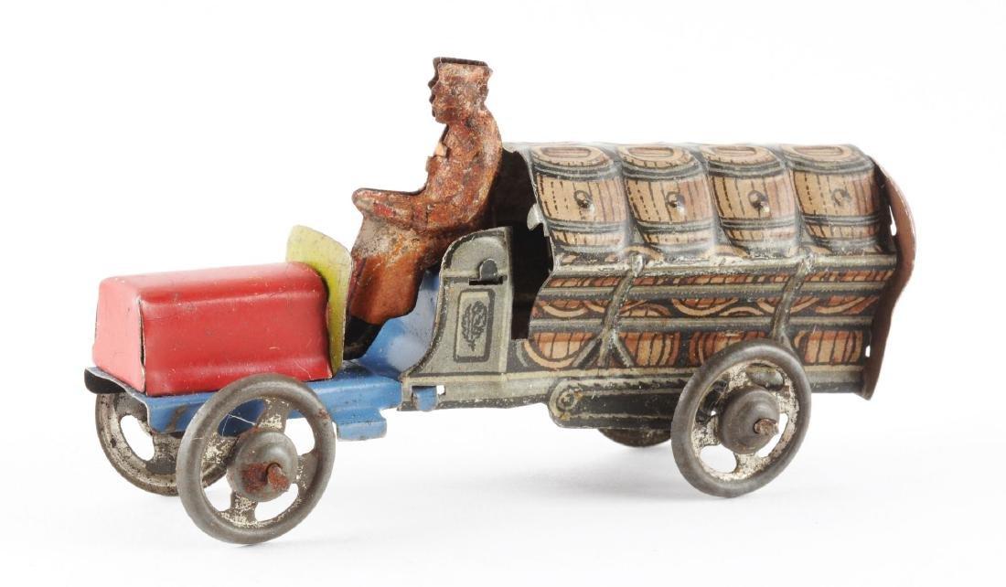 German Distler Tin Litho Penny Toy Bear Barrel Truck. - 2