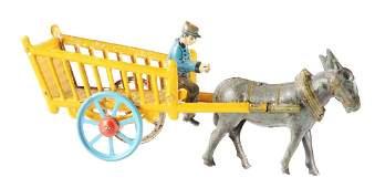 German Tin Litho Donkey Drawn Wagon Penny Toy.