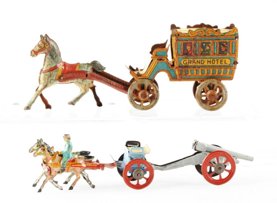 Lot of 2: German Tin Litho Horse Drawn Penny Toys. - 2