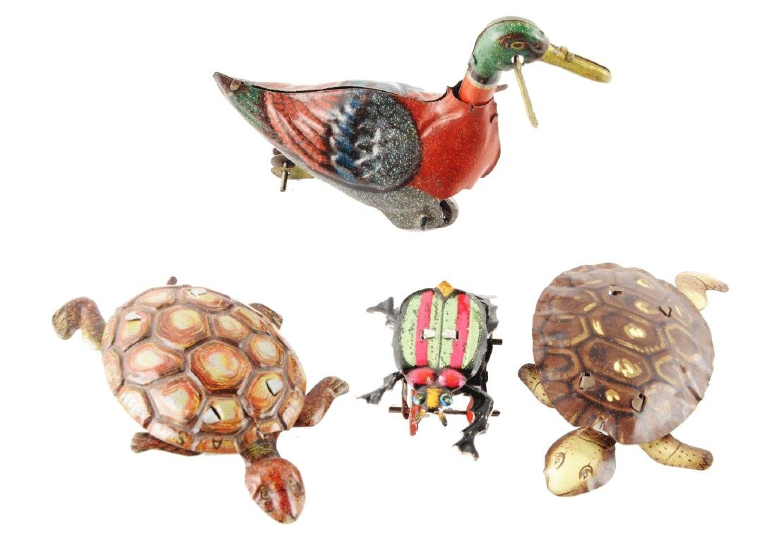 Lot of 4: Tin Litho Penny Toy Size Animal Themed Items.