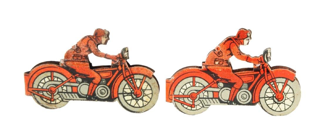 Lot of 2: Tin Litho Penny Toy Size Motorcycle Toys.