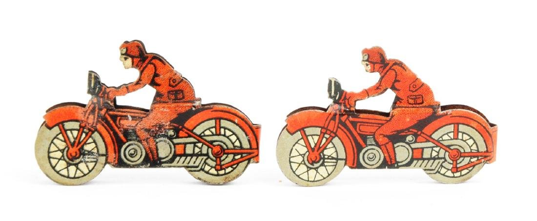 Lot of 2: Tin Litho Penny Toy Size Motorcycle Toys. - 2
