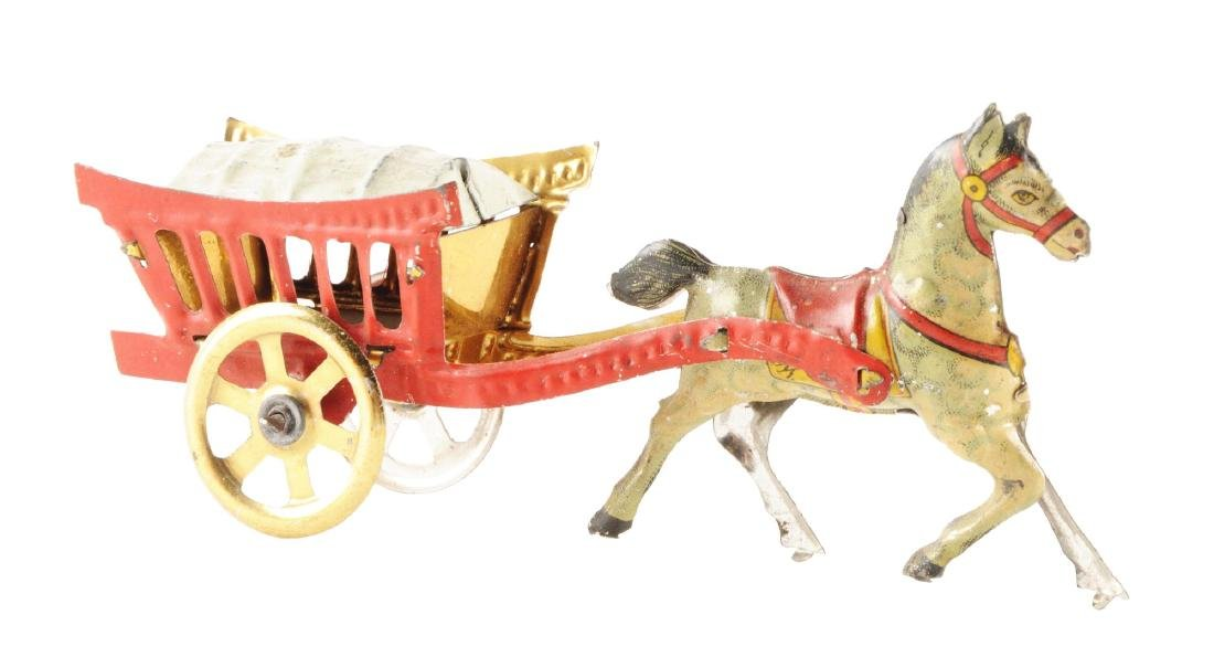 German Tin Litho Meier Horse Drawn Wagon Penny Toy.