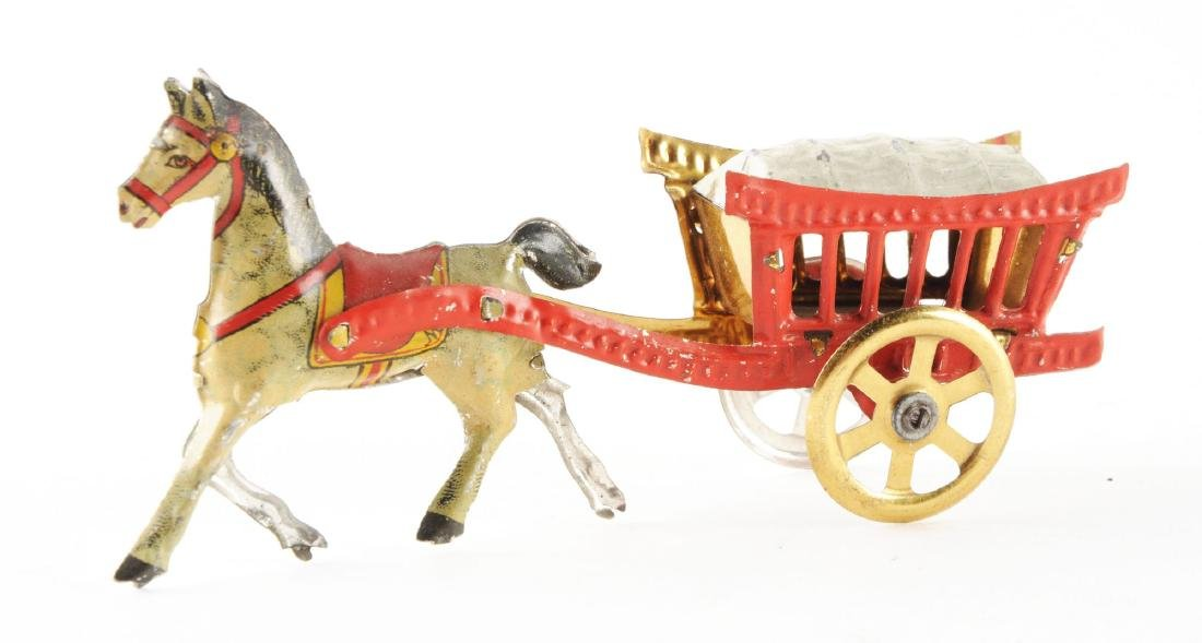 German Tin Litho Meier Horse Drawn Wagon Penny Toy. - 2