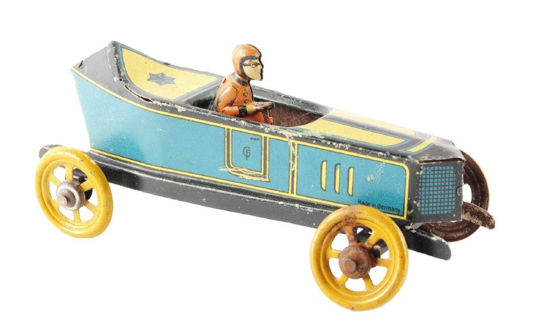 German Fischer Tin Litho Race Car Penny Toy.