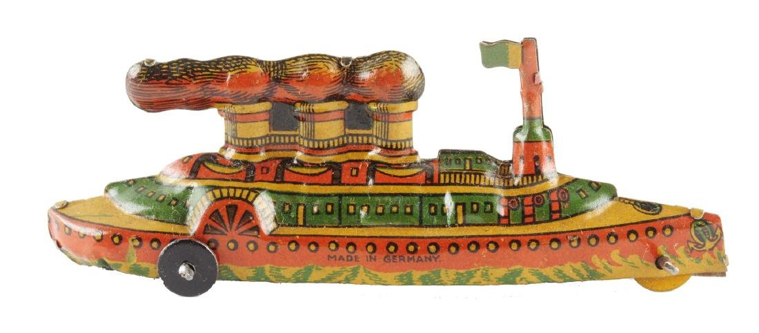 German Tin Litho Penny Toy Boat.
