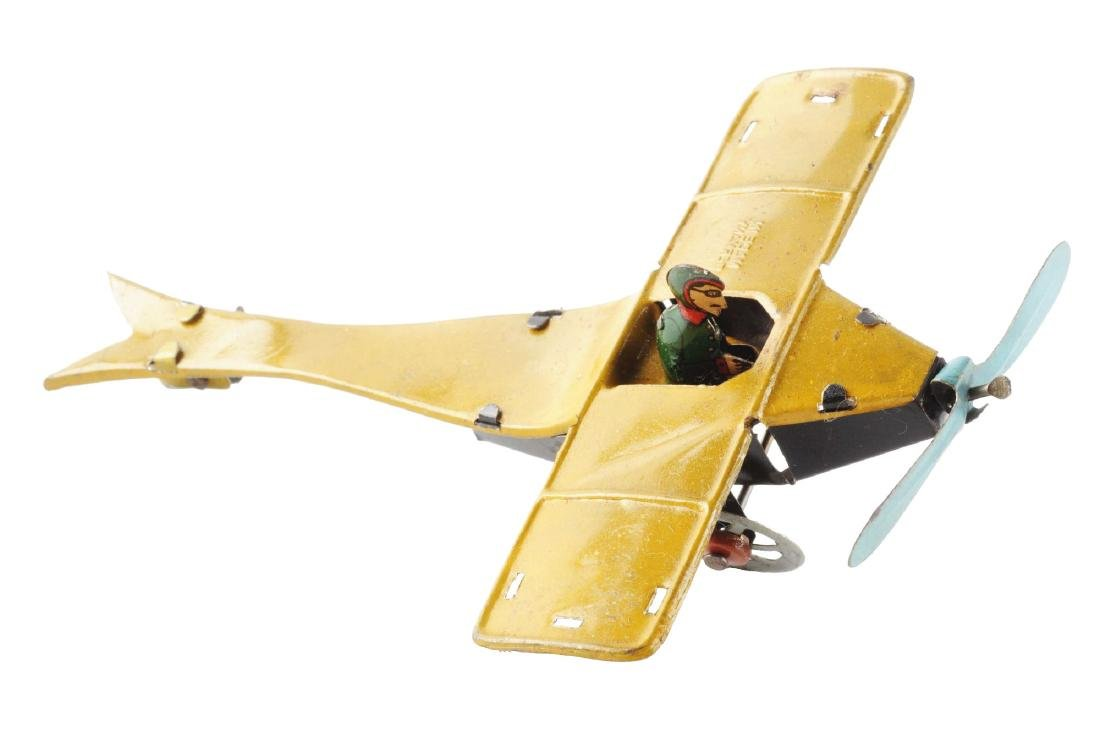German Tin Litho Single Wing Airplane Penny Toy.