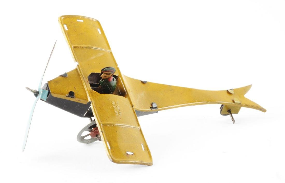 German Tin Litho Single Wing Airplane Penny Toy. - 2