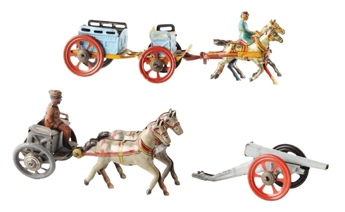 Lot of 2: German Tin Litho Horse Drawn Penny Toys.