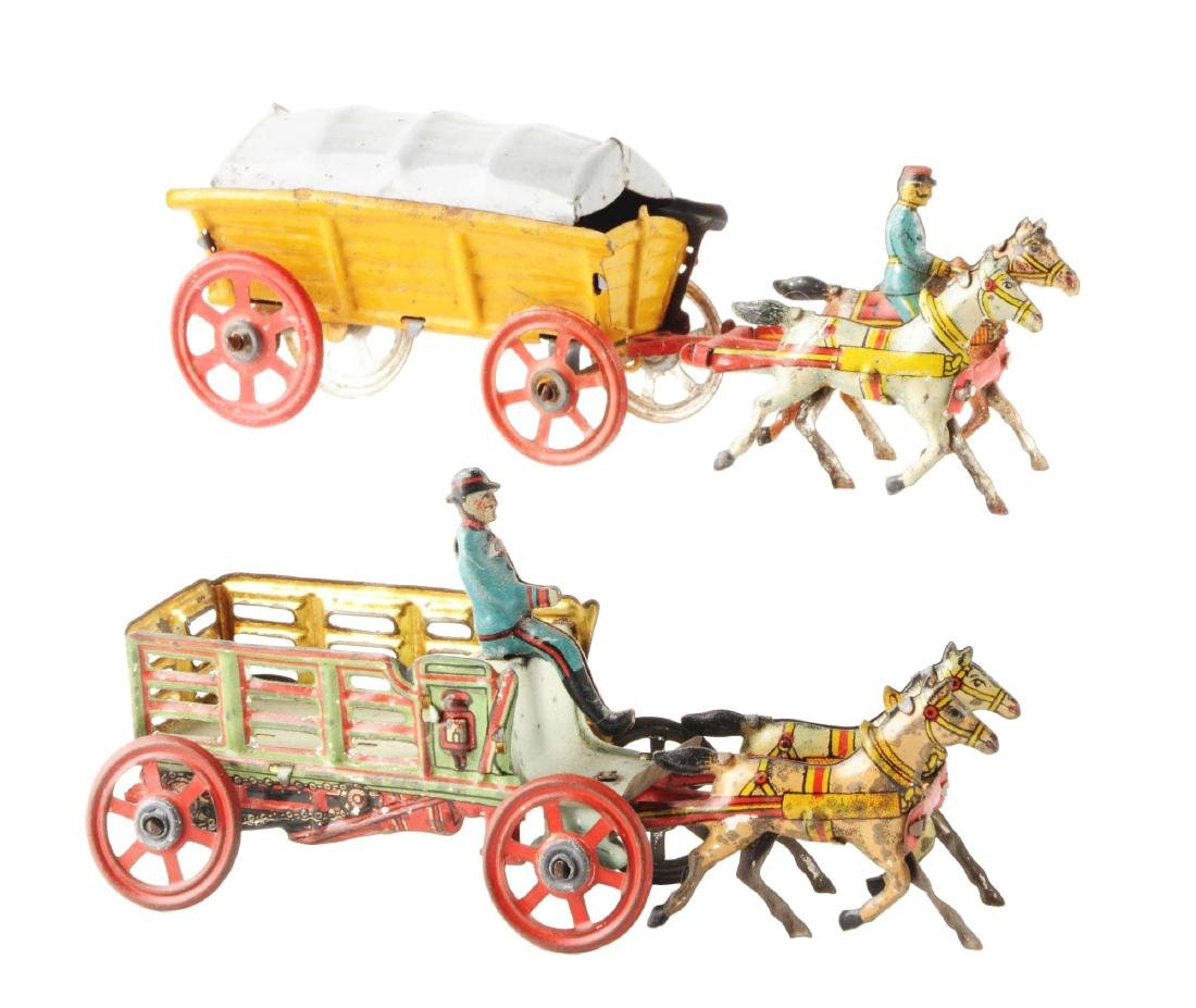 Lot of 2: German Tin Litho Horse Drawn Penny Toys.