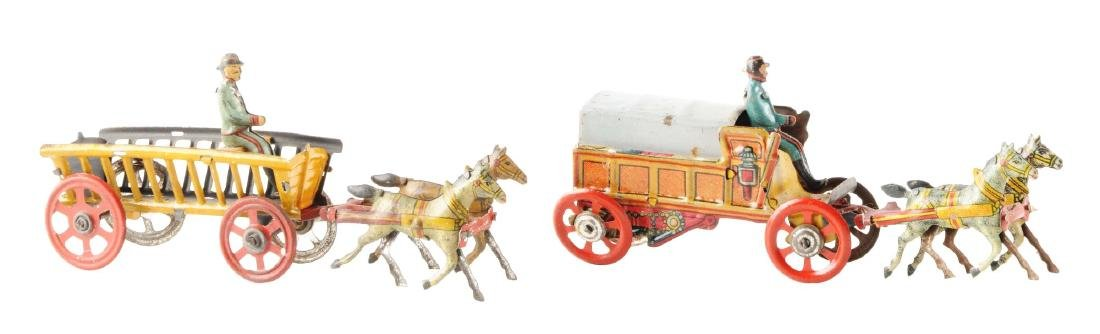 Lot of 2: German Tin Litho Horse-Drawn Penny Toys.