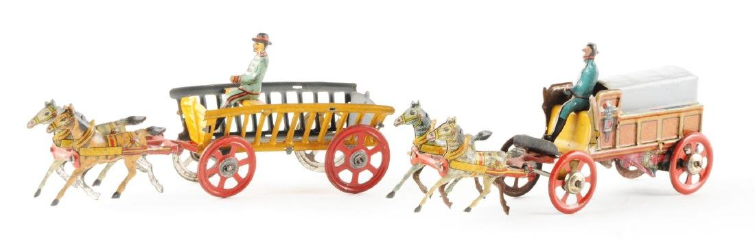Lot of 2: German Tin Litho Horse-Drawn Penny Toys. - 2