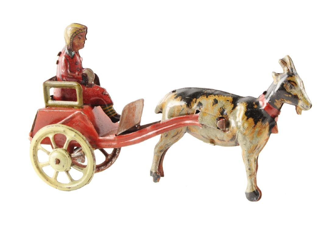 German Tin Litho Goat Drawn Cart Penny Toy.