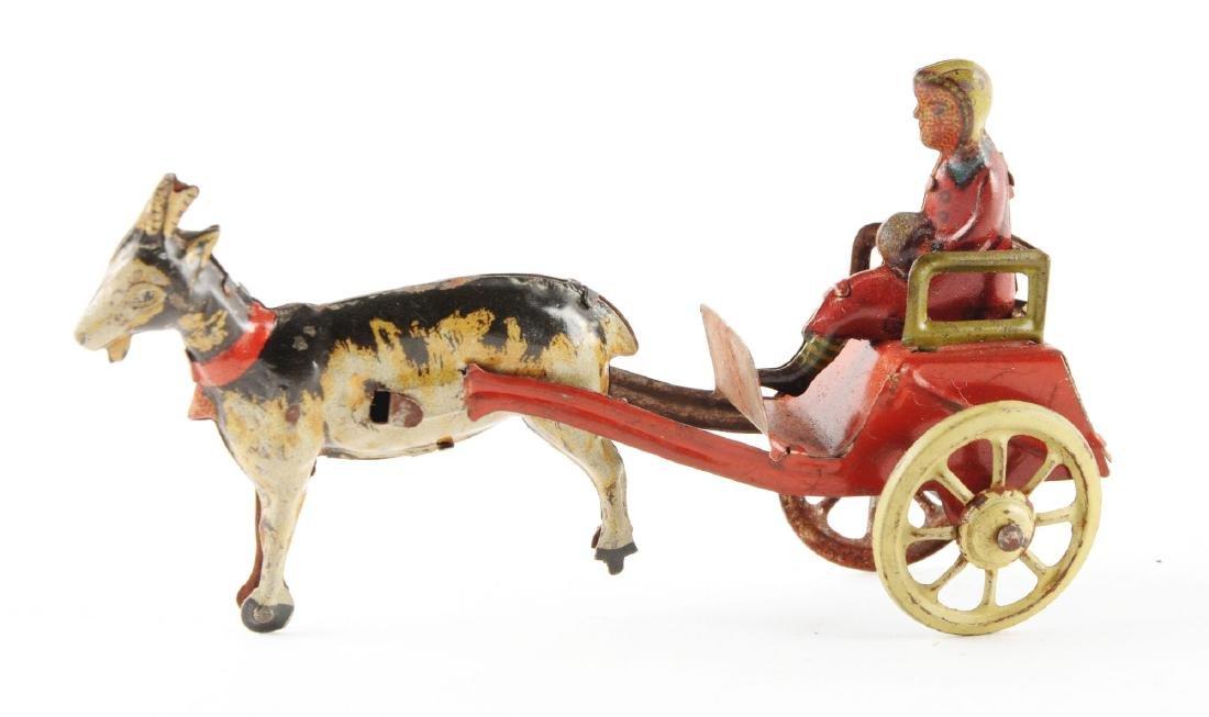 German Tin Litho Goat Drawn Cart Penny Toy. - 2
