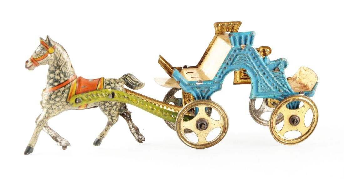 French Tin Litho Horse Carriage. - 2